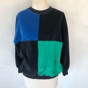 VINTAGE velour color block blue & green sweatshirt
